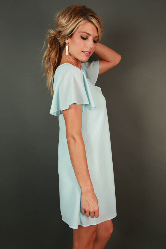 Stunningly Chic Shift Dress in Sky Blue