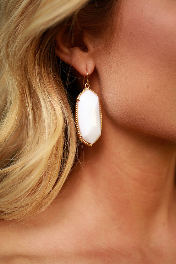 Spruce Up Stone Earrings in White