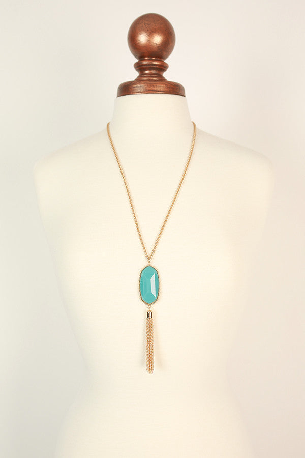 Tricks of the Trade Tassel Necklace in Aqua
