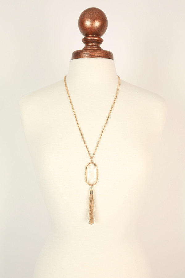 Tricks of the Trade Tassel Necklace in Clear