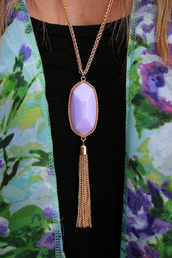 Tricks of the Trade Tassel Necklace in Lavender