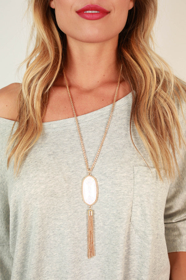 Tricks of the Trade Tassel Necklace in Opal