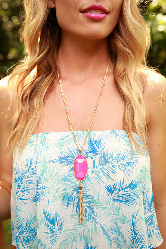 Attention Please Tassel Necklace in Hot Pink