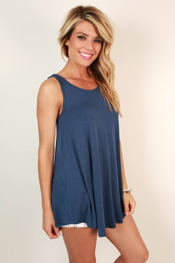 The Sass Shift Tank in Indigo