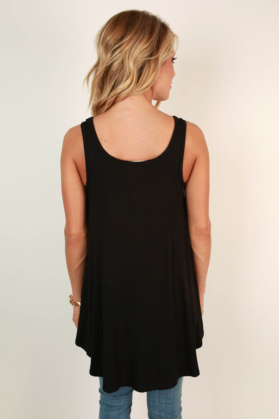 The Sass Shift Tank in Black
