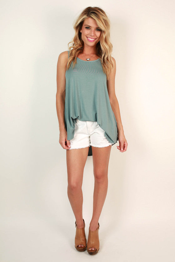 The Sass Shift Tank in Light Slate
