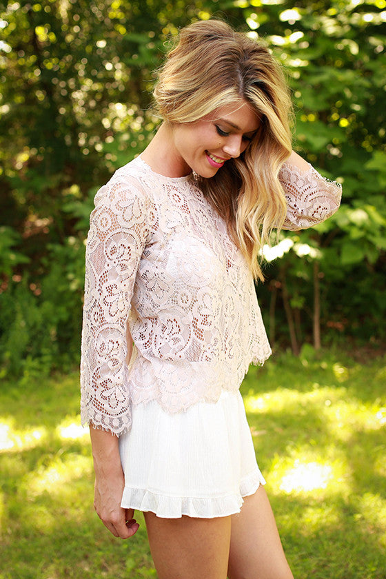 Laceful Thinking Top in Nude