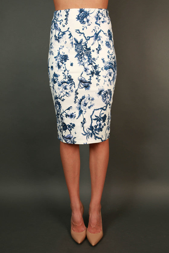 Blissful in Blue Floral Skirt