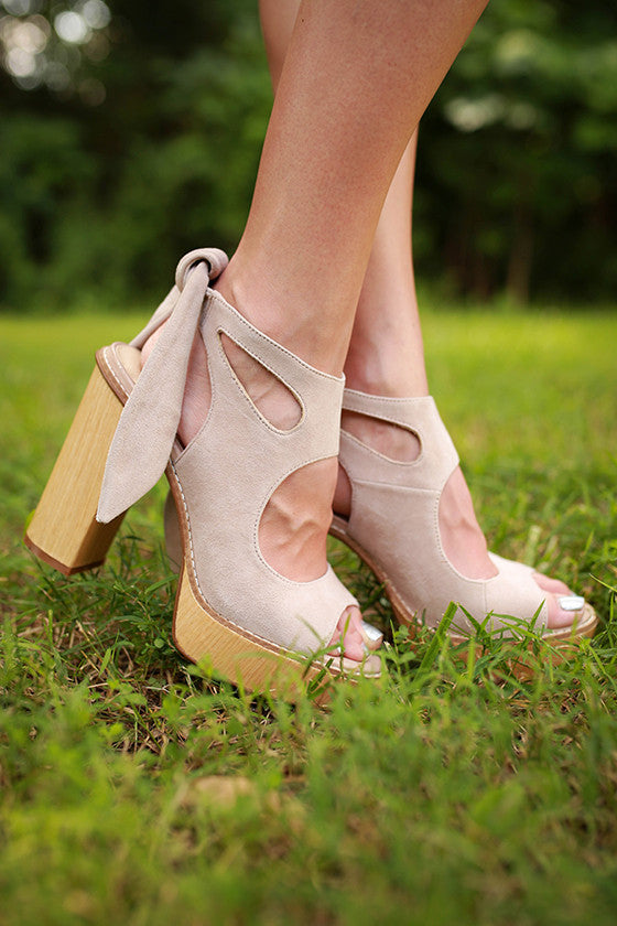 Rissa Cut Out Tie Ankle Heel in Stone