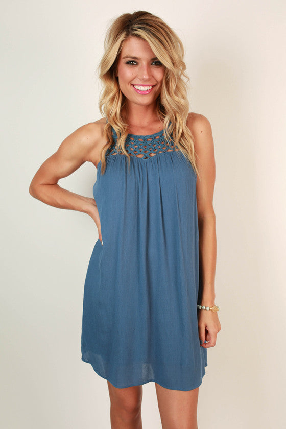 Boardwalk Stroll Crochet Shift Dress in Light Slate