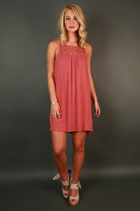 Boardwalk Stroll Crochet Shift Dress in Rust