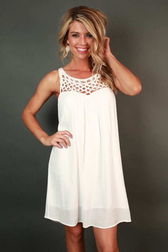 Boardwalk Stroll Crochet Shift Dress in White