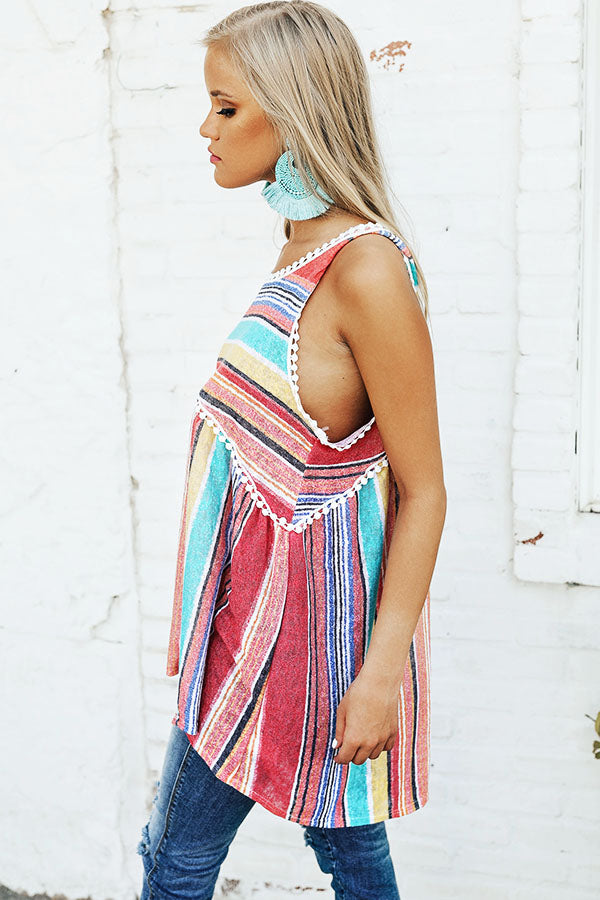 Bright Ideas Stripe Babydoll Tank in Calypso