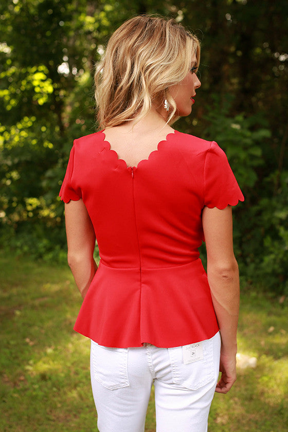 Paint The Town Red Peplum Top