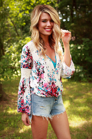Wishin' Well Watercolor Floral Top