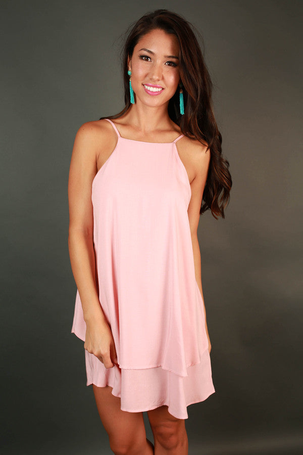 Yours Truly Tank Dress in Rose Quartz