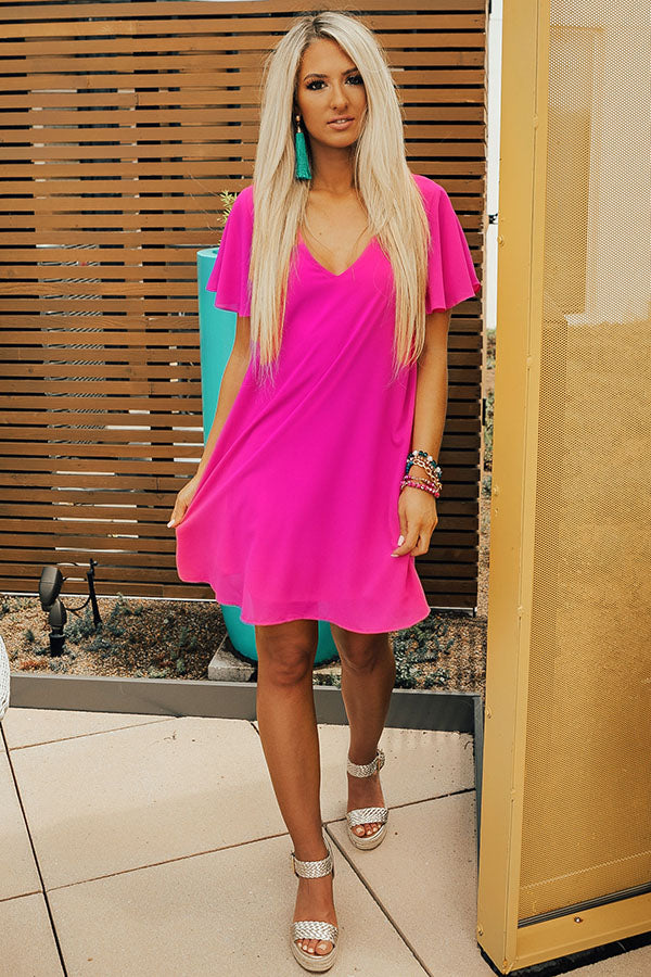 Stunningly Chic Shift Dress in Neon Berry