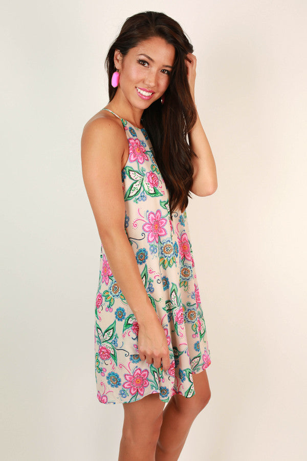 Santa Rosa Sweetheart Floral Shift Dress