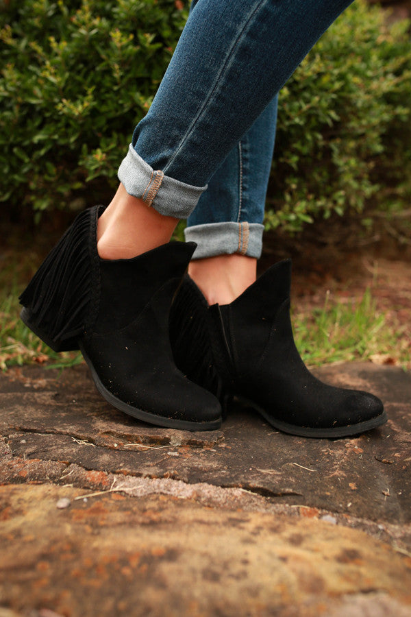 Braxton Fringe Bootie in Black