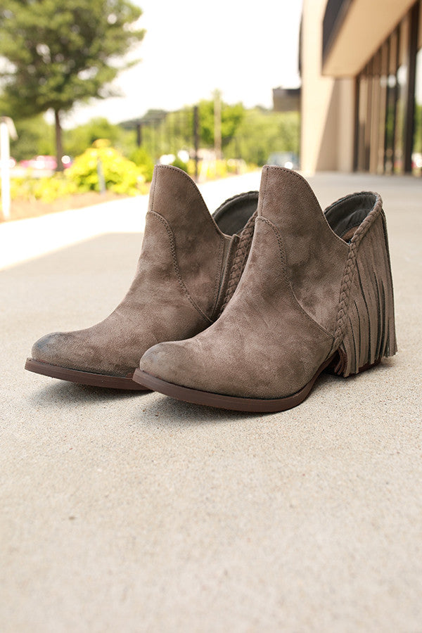 Braxton Fringe Bootie in Taupe