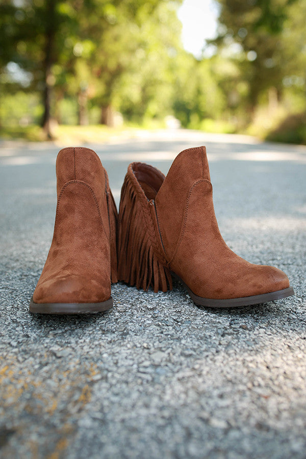 Braxton Fringe Bootie in Brown