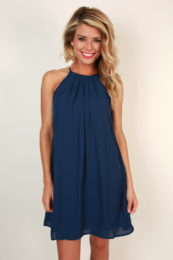 Surprise Me Shift Dress in Navy