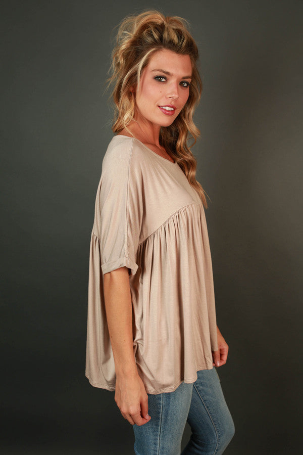 Ruffle With It Babydoll Tee in Birch