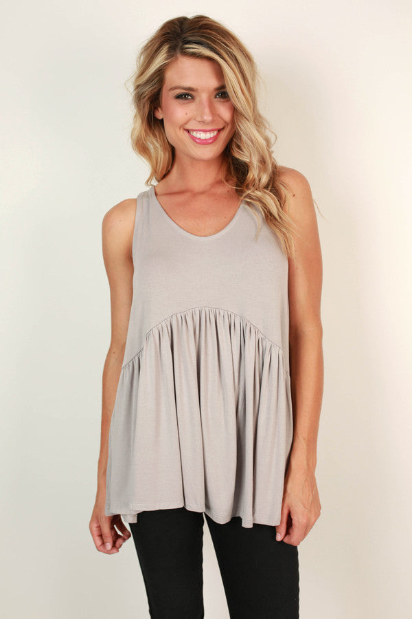 Concert Season Babydoll Tank in Grey