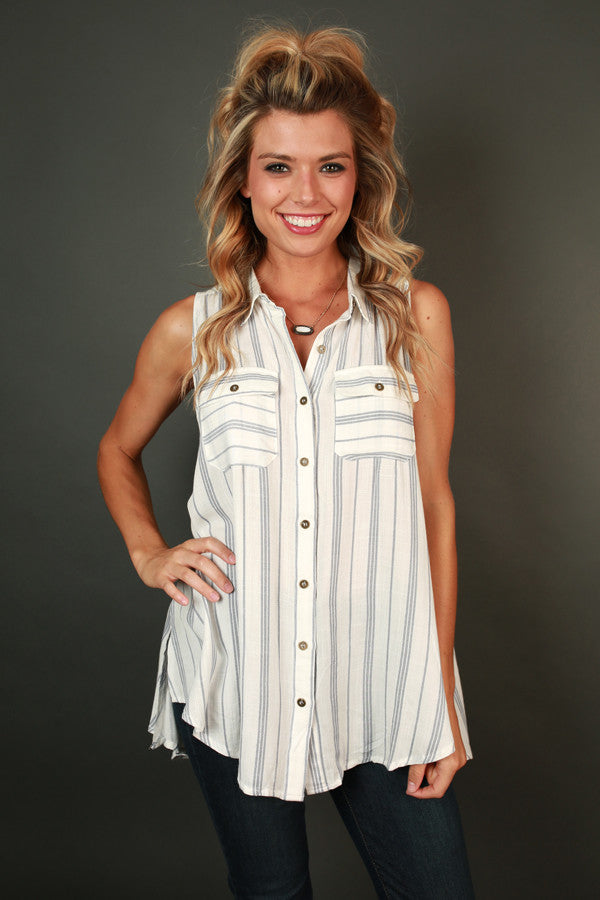Cafe Date Button Up Tank