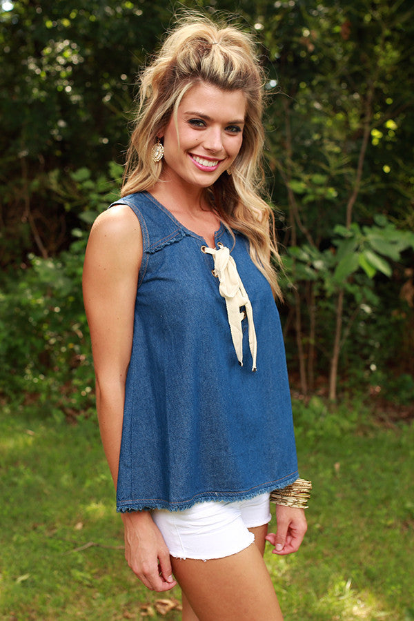 Carefree in Chambray Top