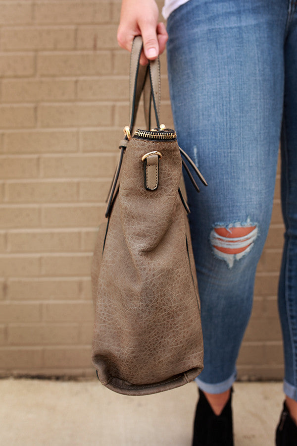 World Tour Tote in Taupe
