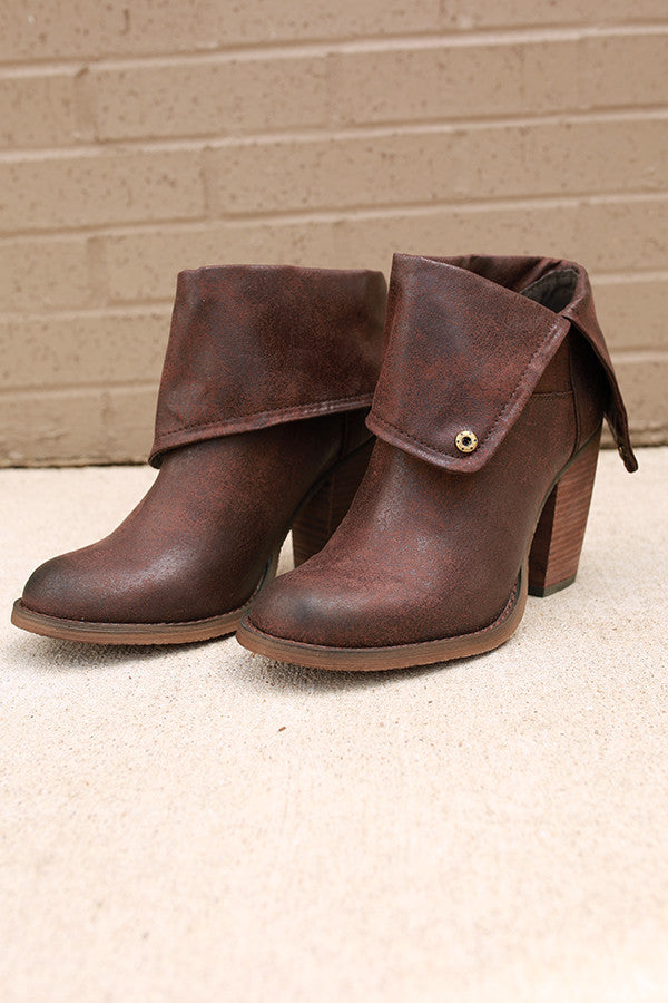 Chord Fold Over Bootie in Chestnut
