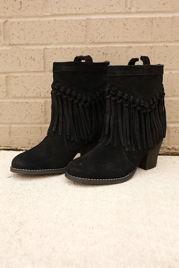 Sound Fringe Bootie in Black