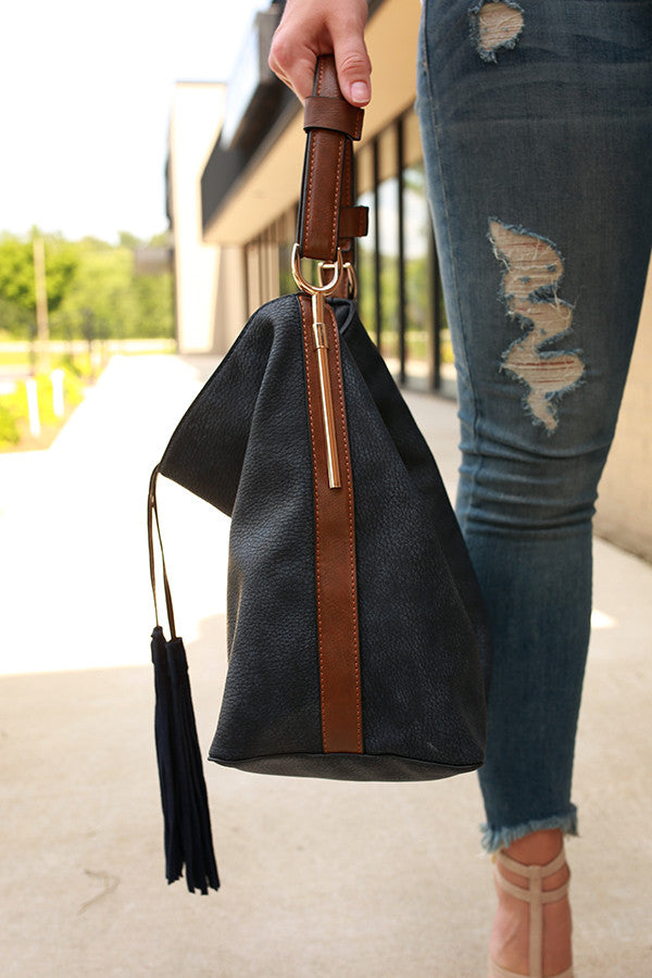 Take It Easy Tassel Tote Bag in Navy