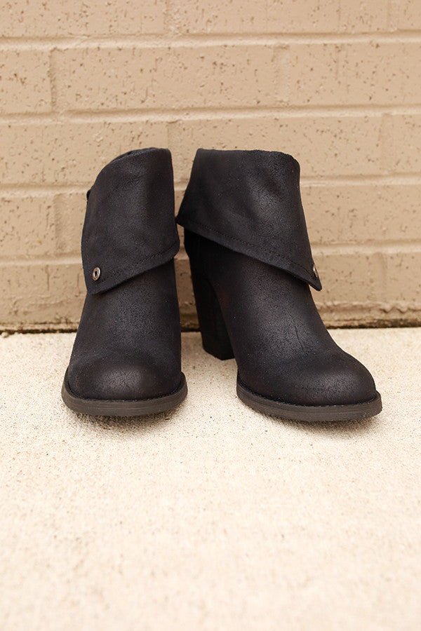 Chord Fold Over Bootie in Black