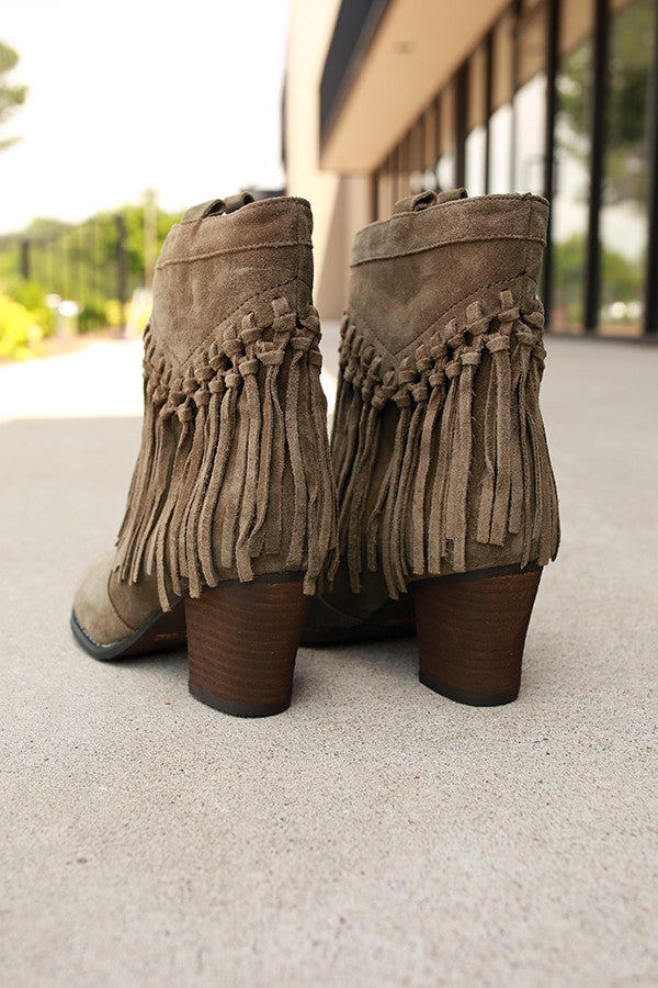 Sound Fringe Bootie in Dark Sage