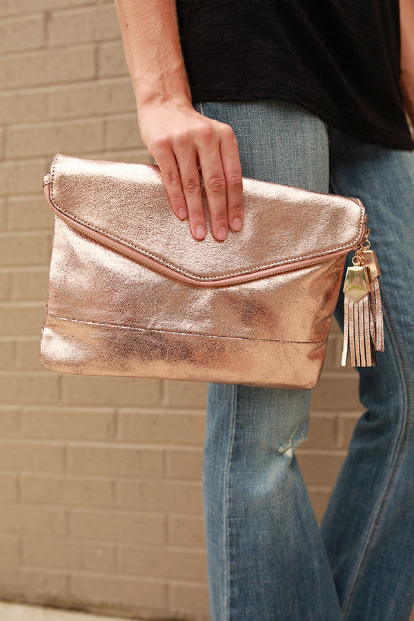 Posh Platinum Clutch in Rose Quartz