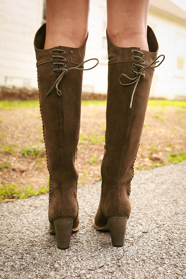 Gusto Over The Knee Boot in Dark Sage