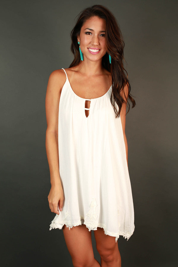 Social Hour Shift Dress in White