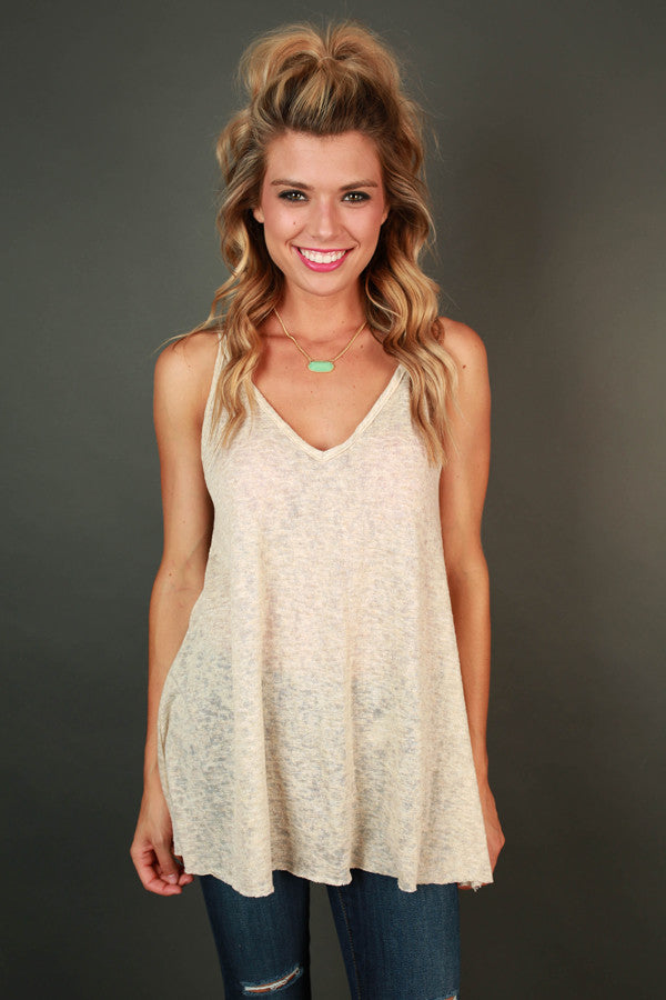 Moment of Truth V-neck Tank in Birch