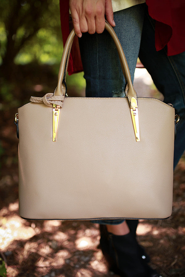 Strut in Santa Barbara Tote in Warm Taupe