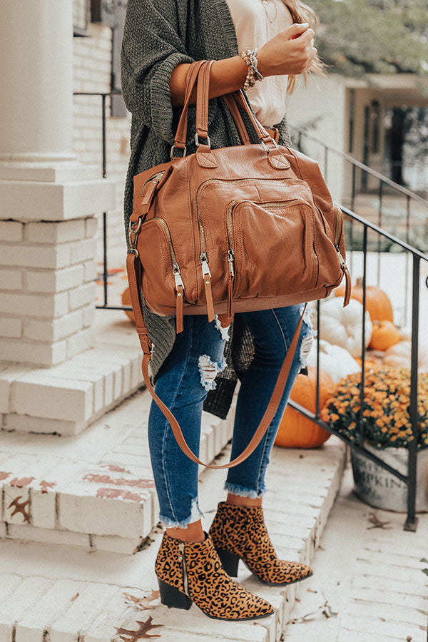The Adventure Faux Leather Tote in Cinnamon