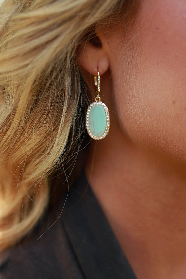 Oceans Edge Earrings in Ocean Wave