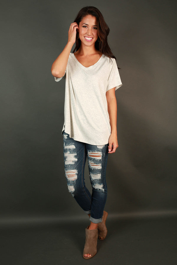 Absolute Perfection V-neck Tee in Heather Grey