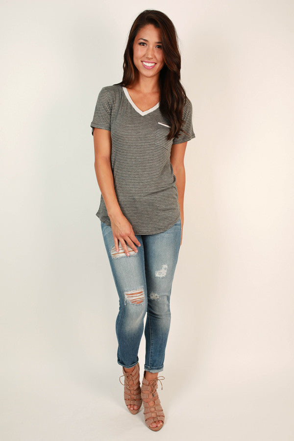 Splendid Times Striped V-neck Tee in Fog