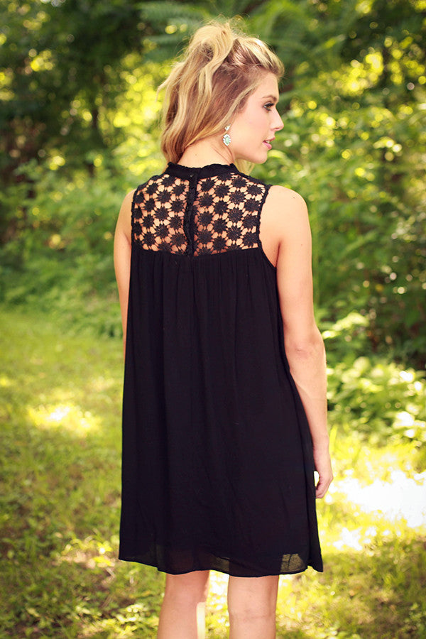 Lean On Me Crochet Shift Dress in Black