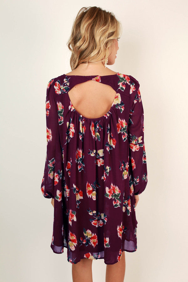Charleston Floral Shift Dress in Royal Plum