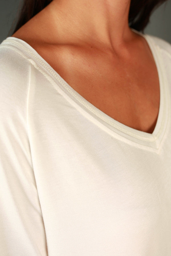Absolute Perfection V-neck Tee in Ivory