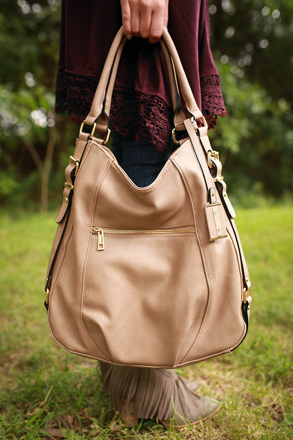 Take Me Downtown Tote in Warm Taupe