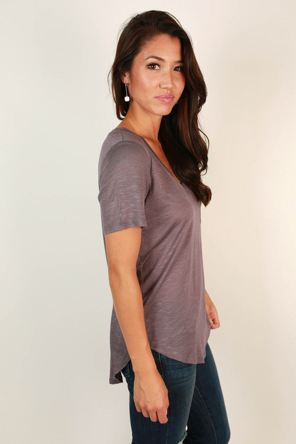 As Good As It Gets V-Neck Pocket Tee in Fog